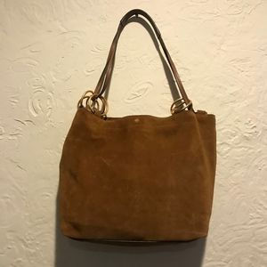 Tory Burch Brown Suede Leather Wide Tote Bag